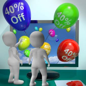 Free Stock Photo of Balloons From Computer Showing Sale Discount Of Forty Percent