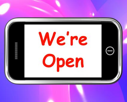 Free Stock Photo of Were Open On Phone Shows New Store Launch
