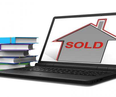 Free Stock Photo of Sold House Laptop Shows Sale And Purchase Of Property
