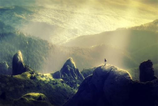 Free Stock Photo of Woman Alone at the Top of the Mountain