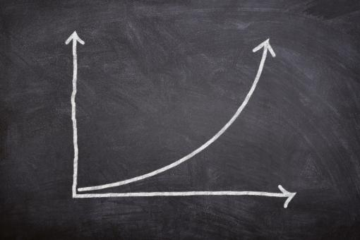 Free Stock Photo of Compound Interest - A Rising Financial Curve on Blackboard
