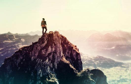 Free Stock Photo of Man on the Summitt - Achiever