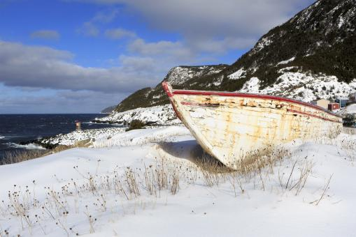 Free Stock Photo of Snow covered fishing boats