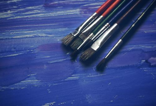 Free Stock Photo of Paint Brushes on Blue