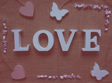Free Stock Photo of Love on Sackcloth Texture