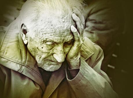Free Stock Photo of Emotional Colorized Portrait of Elderly Man Worrying
