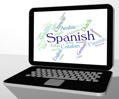 Free Stock Photo of Spanish Language Means Wordcloud Translator And Text