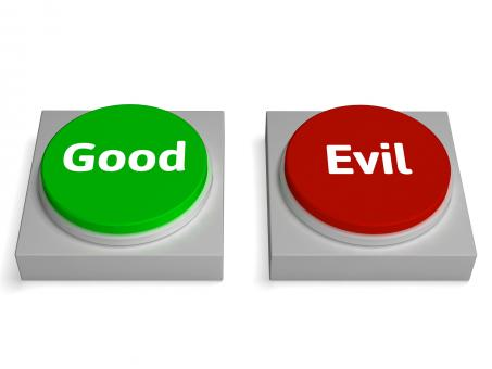 Free Stock Photo of Good Evil Buttons Show Goodness Or Devil