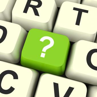 Free Stock Photo of Question Mark Key Shows Doubt And Help