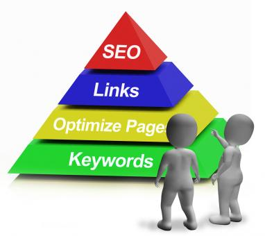 Free Stock Photo of SEO Pyramid Showing The Use Of Keywords Links And Optimizing
