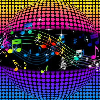 Free Stock Photo of Music Disco Ball Background Shows Colorful Musical And Clubbing