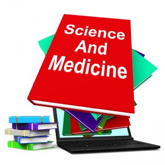 Free Stock Photo of Science And Medicine Book Stack Laptop Shows Medical Research