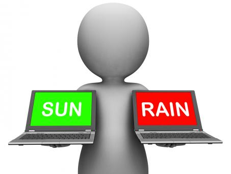 Free Stock Photo of Sun Rain Laptops Shows Weather Forecast Sunny or Raining