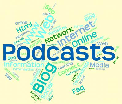 Free Stock Photo of Podcast Word Represents Text Webcast And Broadcasting