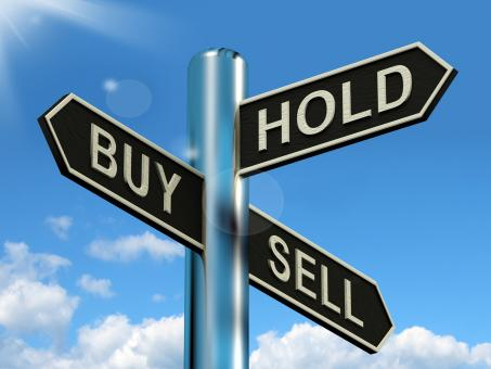 Free Stock Photo of Buy Hold And Sell Signpost Representing Stocks Strategy