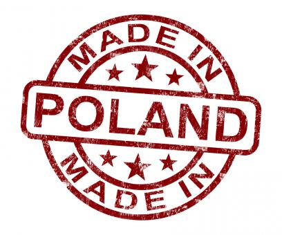 Free Stock Photo of Made In Poland Stamp Shows Polish Product Or Produce