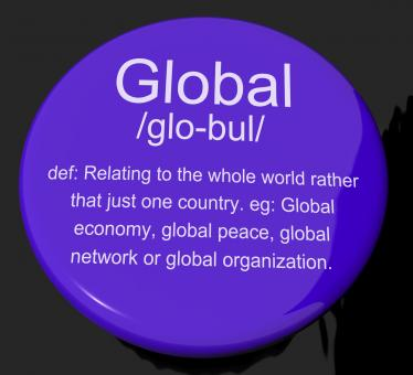 Free Stock Photo of Global Definition Button Showing Worldwide International Or Continenta