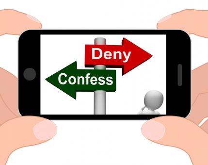 Free Stock Photo of Confess Deny Signpost Displays Confessing Or Denying Guilt Innocence