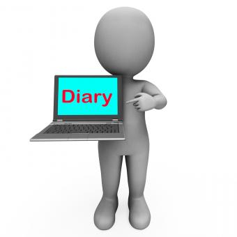 Free Stock Photo of Diary Laptop Character Shows Online Reminder Or Scheduler