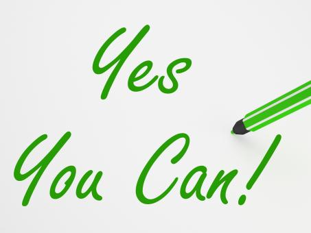 Free Stock Photo of Yes You Can! On Whiteboard Means Encouragement And Optimism