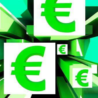 Free Stock Photo of Euro Symbol On Cubes Shows European Profits