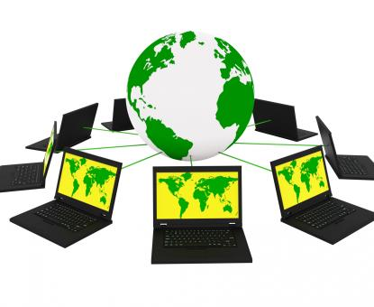 Free Stock Photo of Global Network Means Networking Monitor And Planet