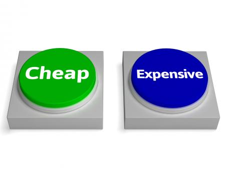 Free Stock Photo of Cheap Expensive Buttons Shows Discount Or Costly