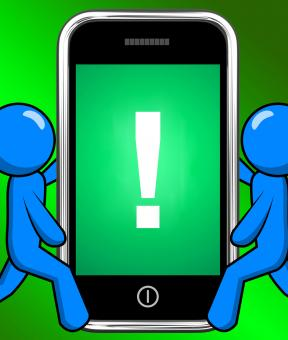 Free Stock Photo of Exclamation Mark On Phone Displays Attention Warning