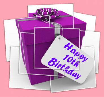 Free Stock Photo of Happy 10th Birthday Gift Displays Congratulations Age Ten