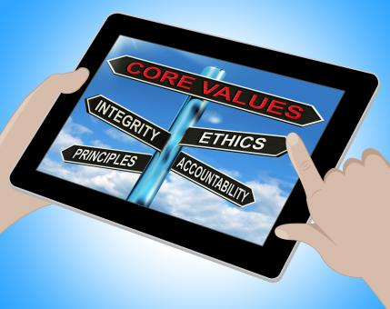 Free Stock Photo of Core Values Tablet Means Integrity Ethics Principals And Accountabilit