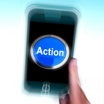 Free Stock Photo of Action In Mobile phone Shows Inspired Activity