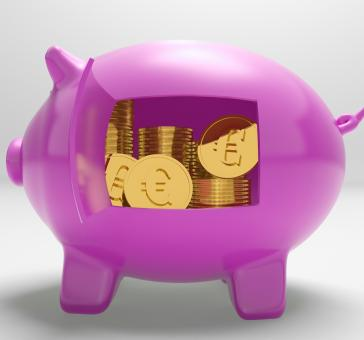 Free Stock Photo of Euros In Piggy Shows Rich European Finances