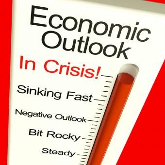 Free Stock Photo of Economic Outlook In Crisis Monitor Showing Bankruptcy And Depression