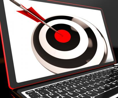 Free Stock Photo of Dartboard On Laptop Shows Effectiveness