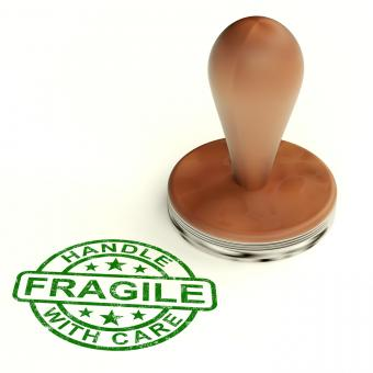 Free Stock Photo of Wooden Fragile Stamp Shows Breakable Products For Delivery