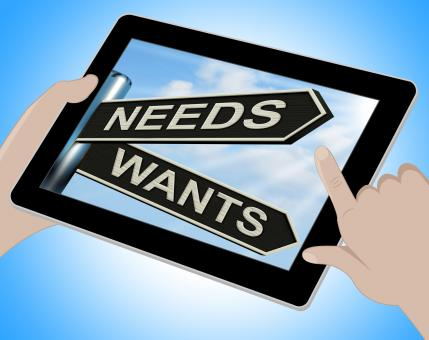 Free Stock Photo of Needs Wants Tablet Means Necessity And Desire