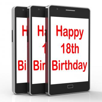 Free Stock Photo of Happy 18th Birthday On Phone Means Eighteen