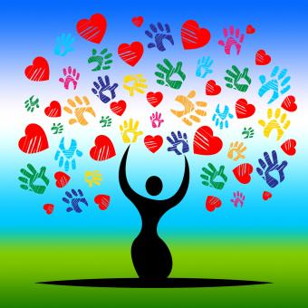 Free Stock Photo of Handprints Tree Represents Valentines Day And Artwork