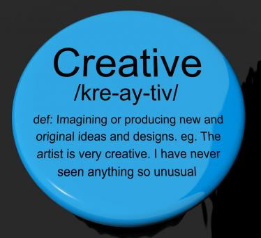 Free Stock Photo of Creative Definition Button Showing Original Ideas Or Artistic Designs