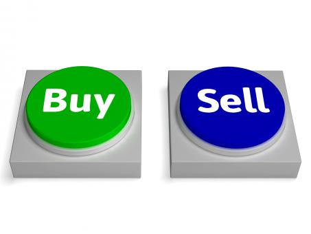 Free Stock Photo of Buy Sell Buttons Shows Buying Or Selling