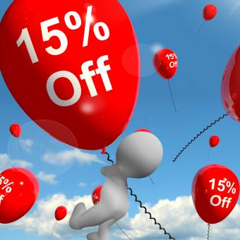 Free Stock Photo of Balloon With 15 Off Showing Discount Of Fifteen Percent