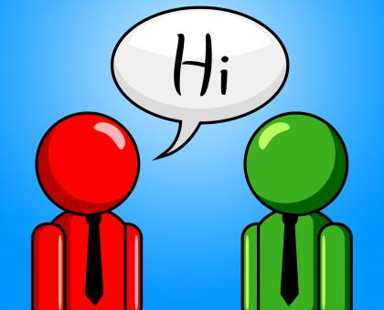 Free Stock Photo of Hi Conversation Shows How Are You And Chinwag