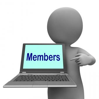 Free Stock Photo of Members Laptop Shows Member Register And Web Subscribing