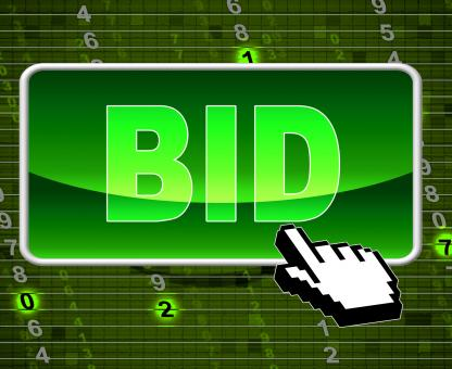 Free Stock Photo of Bid Button Indicates World Wide Web And Auctioning