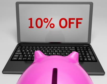 Free Stock Photo of Ten Percent Off On Notebook Shows Discounts