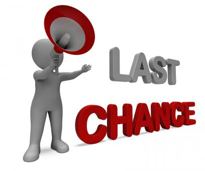 Free Stock Photo of Last Chance Character Shows Warning Final Opportunity Or Act Now