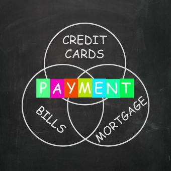 Free Stock Photo of Consumer Words Show Payment of Bills Mortgage and Credit Cards