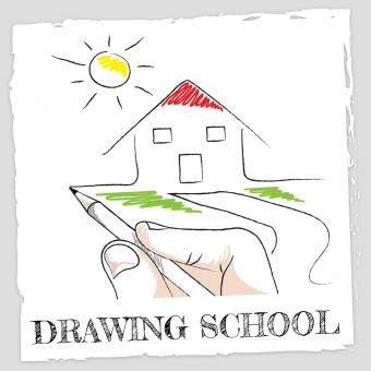 Free Stock Photo of Drawing School Represents Schooling Learning And Creative