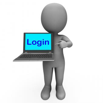 Free Stock Photo of Login Character Computer Shows Website Sign In Security