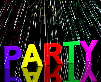 Free Stock Photo of Party Word With Fireworks Showing Clubbing Nightlife Or Disco